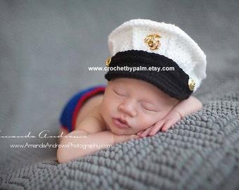 MARK DOWN Original Design Crochet Marine Corps and Diaper cover set, USMC Hat, Baby Hat Photography prop - Hobbyist License 41417