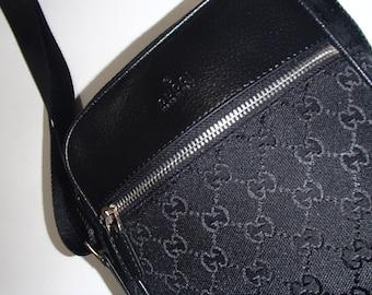 50% Off Sale VINTAGE GUCCI BAG 1990S Black Monogram Logo Cross Body Bag With Silver Metal Hardware