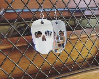 Skull Earrings - Laser Cut Silver Mirror