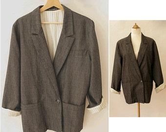 80s french oversized  Blazer grey small