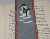 Snowman - Embroidered Felt Bookmark by Lynwoodcrafts