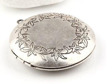 Silver Plated Floral Locket Pendant, Locket Necklace, 1 piece