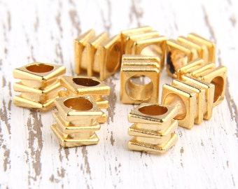 Ridged Cube Metal Bead Spacers, 22k matte gold plated, 6x6mm, 10 pcs // GB-142
