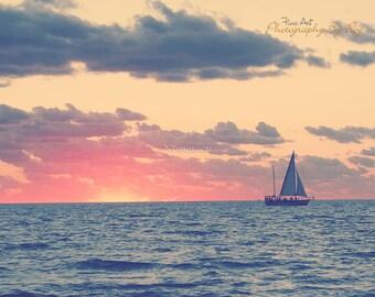 Key West Ocean Sunset. Florida Original Fine Art Photography. Sail Boat and setting sun