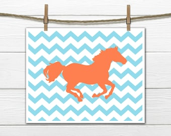 Horse Print - Chevron Background - Horse DECOR  CANVAS AVAILABLE