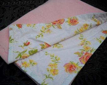 Baby Blanket, Vintage Linens, Pink Fleece, Wonderful