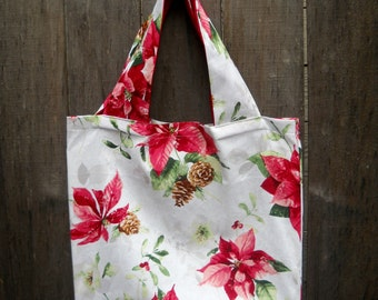 WINTER SALE--Christmas Tote, Vintage Style Poinsettia Fabric