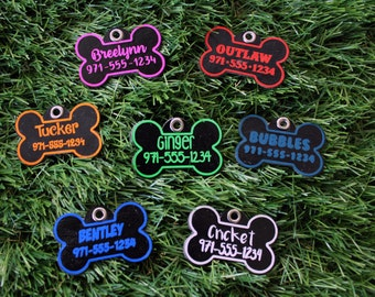 Personalized Dog ID Tag, Silent Identification Tag for Dogs, Pet Collar Tag, Quiet ID Tag, Dog Collar ID Tag