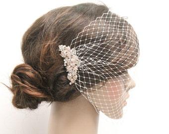 Bridal bird cage veil,Wedding veil,Birdcage veil fascinator,Bridal veil,Rose gold tone Rhinestone birdcage veil,Wedding hair jewelry.Bridal