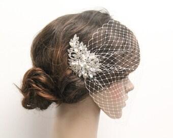 Wedding hair jewelry,Wedding birdcage veil,Bridal birdcage veil,Ivory birdcage veil hair comb,Wedding accessories,Bridal veil,Bird cage veil