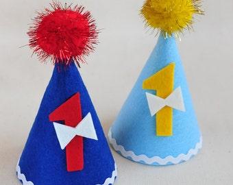 1st birthday hat.Boy birthday hat.Birthday hat.Birthday headband.Pompon party hats.Felt hat.Handmade and Ready to ship!