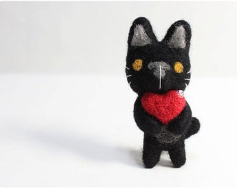 Black Cat - needle felted wool brooch, crystal bead