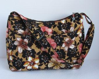Peach purse, black shoulder bag, floral zippered bag, bag with adjustable strap, Peach handbag