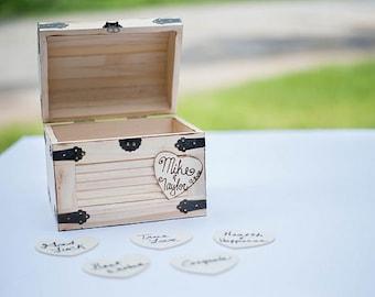 Wedding Advice Box - Wedding Chest - Wishing Well -Dark Walnut Stained - Wedding Guest Notes - Rustic Wedding - Shabby Chic Wedding