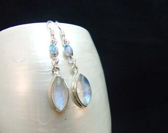 Opal & Rainbow Moonstone Sterling Silver Drop Earrings