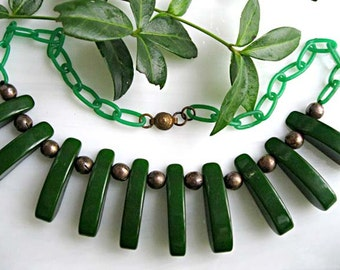 Bakelite Green Choker, Curved Wedge Sections, Brass Bead Spacers, Tribal Claw Links, Green Celluloid Links Chain
