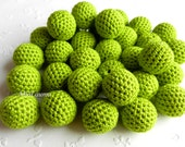 "Crochet beads 5 PCS 18 mm 45/64"" Apple green Wooden crochet cotton beads Crocheted bead Round beads Necklaces"