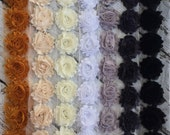 Shabby Chiffon Flower Trim - You Choose the Color & Quantity! BLACK AND WHITE Scheme - 1/2 yard or 1 yard - Grey - Ivory - Cream - Gold
