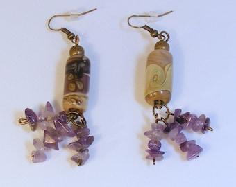 PURPLE MOCHA AMETHYST Earrings - Lampwork Swirl - Mocha Color - Amethyst Chips