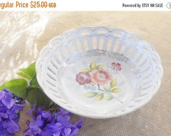 On Sale Vintage Victorian Reticulated Floral Bowl, Made in Japan, Shabby Chic, Wedding, Tea Party, Home Decor