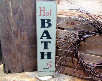 Wooden Signs, Funny Wood Sign, Hot Baths 5 cents, Bathroom Decor, Humorous Bath Sign, Laundry Room, Shower Decor, Rustic Home Signs
