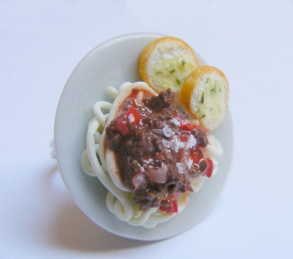 Food Jewelry Spaghetti Bolognese Ring, Miniature Food Jewellery, Spaghetti Ring, Mini Food, Italian Food Jewelry, Handmade Ring, Kawaii Ring