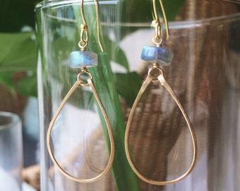 Labradorite gold hoop earrings