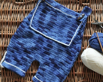 Patchwork Denim Dungarees - Instant Download PDF Crochet Pattern