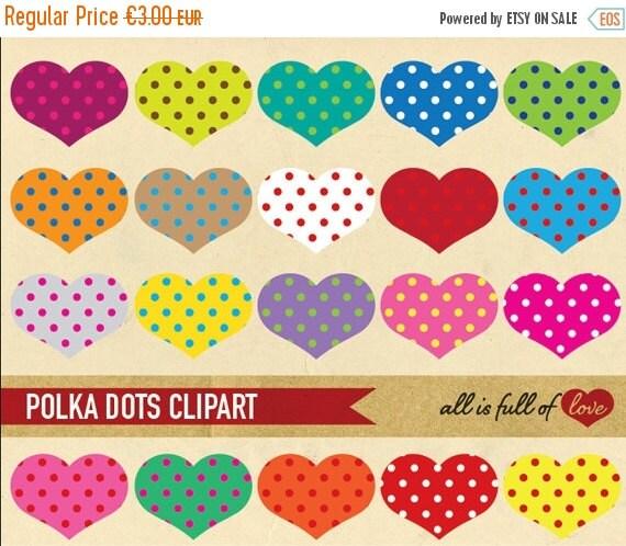 80% off HEART CLIP ART Polka Dots Rainbow Scrapbooking element Digital Download