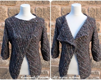 Knitting PATTERN - Monro wrap, cardigan jacket, clothing patterns laurimuks  - Listing10