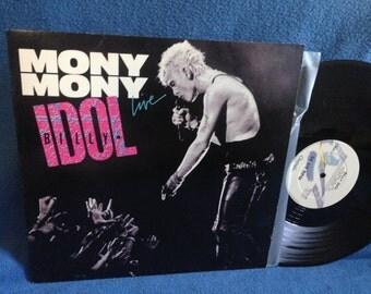 "Vintage, Billy Idol - ""Mony Mony Live / Shakin' All Over Live"", 12"" 45 Vinyl Maxi Single, Original Press, Pop Punk, 80's New Wave"