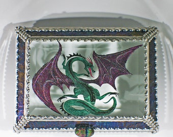 Etched, Hand Painted, Celtic Dragon, Dragon, Jewelry Box