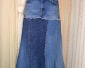 Upcycled denim skirt....7 For All Mankind....ize 31.....