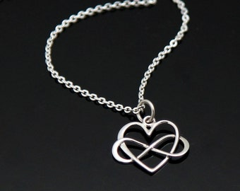INFINITY Heart Necklace, Silver Infinity Heart Necklace, Love Necklace, Infinity Necklace, Sterling Silver.