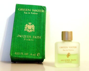 Vintage 1990s Green Water by Jacques Fath 0.13 oz Eau de Toilette Miniature Mini COLOGNE #1