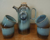 Stunning  Pottery Craft Vino Wine Decanter and Cups Compton California