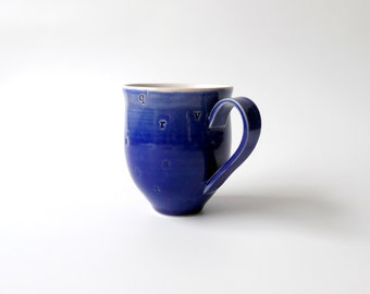 Pottery, Ceramic Mug with Alphabet abc in Blue and White, Lower Case Small Letters, Coffee Cup, Gift for Teacher by Cecilia Lind, StudioLind