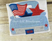Fourth of July Truck Shirt - Personalized 4th of July Shirt - Boy - Toddler - Baby -  Truck - Flag Truck - Monogram Truck - Patriotic Truck