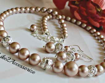 Classic Bridal Necklace Earring Set. Champagne Necklace. Bridesmaid Necklace. Wedding Accessories Jewelry. Bridal Jewelry Set Bidesmaid Gift