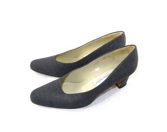 Elegant vintage gray tweed textured Etienne Aigner / pumps / high heels / 8.5 B N career low heel classy shoes