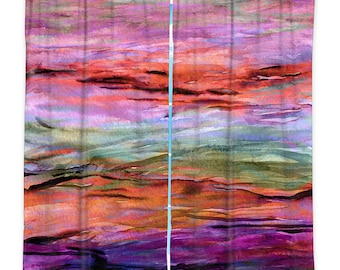 UNANCHORED 3 Pink Coral Purple Watercolor Window Curtains Ocean Waves Abstract Colorful Decor Bedroom Kitchen Lined Unlined Woven Fabric