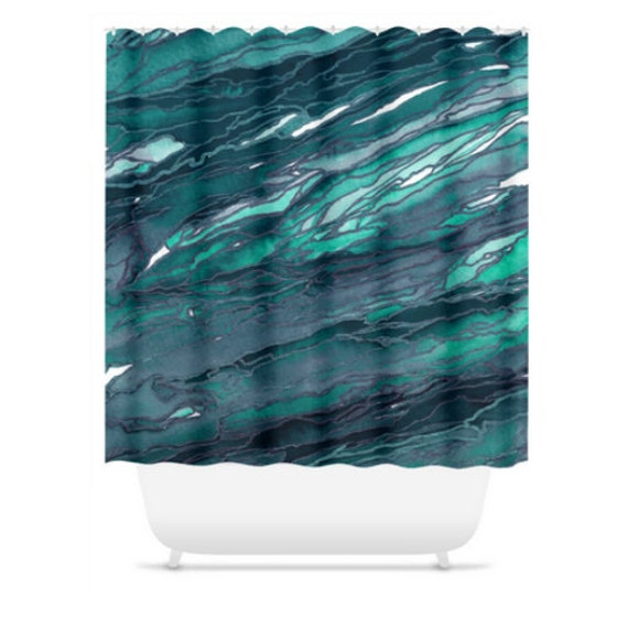 AGATE MAGIC Dark TEAL Colorful Ocean Waves Shower Curtain