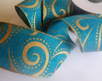 Wired Swirl Ribbon Trim, Teal / Gold, 2 1/2 inch wide, 1 yard, For Gift Packing, Wreaths, Center Pieces, Home Decor, Romantic Crafts.