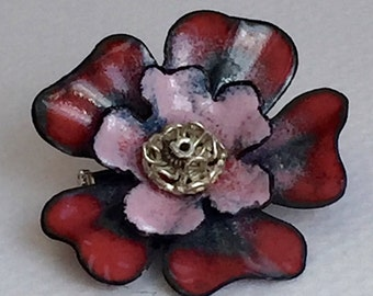 Rose Flower Pin, Red Pink Enamel Brooch, Handmade Copper Jewelry, One of a Kind, Rosie Morning