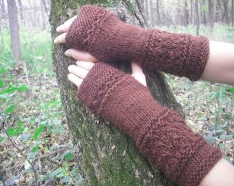 Fingerless Gloves, Wool Arm Warmers, Wrist Warmers, Knit Fingerless Gloves, Hand Knit Gloves, Knitted Gloves, Mori Girl, Brown, Woodland