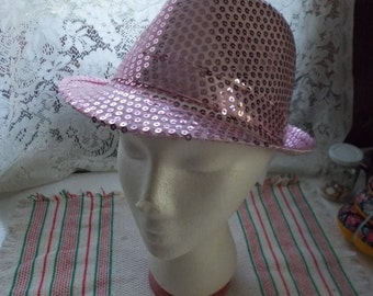 Very Nice Pink Sequined Fedora-EXCELLENT Condition