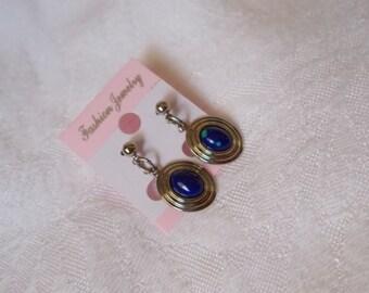 Pretty Retro Blue Dangle Pierced Earrings-R3799