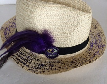 Baltimore Ravens Straw Hat, Baltimore Ravens Fedora, Ravens Boho Chic Straw Fedora, Baltimore Ravens Decoupaged Straw Hat, Beach Fun Style