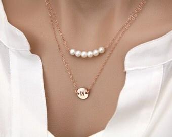 Layered tiny disc gemstone Necklaces Set,double layered initial Necklace,stamped initial,birthstone necklace,monogram necklace,birthday gift