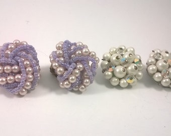 Vintage Earrings  - Two Pairs of Round, Beaded Clip On - Retro Fashion Jewelry 1950s